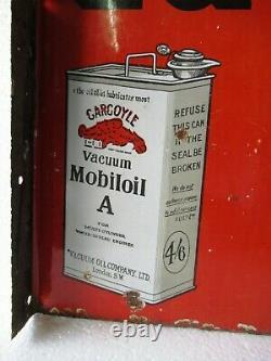 Vintage Gargoyle Vacuum Motor Car Oil Sign Board Porcelain Enamel Double Sided2