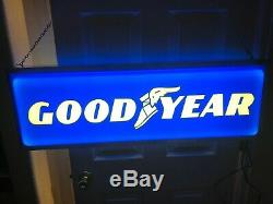 Vintage Goodyear Large Double Sided Lighted Sign 36 X 12 X 6 Superb Condition