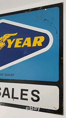 Vintage Goodyear Tire Sales Dealer Double Sided Metal Sign with Bracket Man Cave