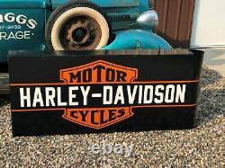Vintage HARLEY DAVIDSON MOTORCYCLE Double Sided SIGN DEALERSHIP MANCAVE Garage