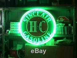 Vintage H-C Sinclair Gasoline double-sided 48 porcelain sign NO RESERVE