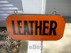 Vintage Hand Painted Double Sided LEATHER Sign Artisan Craftsman Retro w Hooks