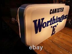 Vintage Illuminated Double Sided Canister Worthington E sign