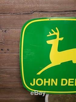 Vintage John Deere Dealership Sign 2 lagged logo double sided farm Tractor gas