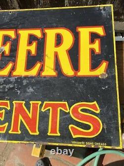 Vintage John Deere Farm Implement Porcelain Sign, Double sided 24 x 72