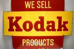 Vintage Kodak Sign Board Porcelain Enamel Double Sided Camera Film Advertising