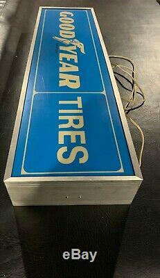 Vintage Lighted Dealer Sign GOODYEAR 10 x 36 Silver Frame Double Sided