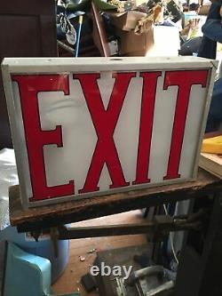 Vintage Lighted Exit Sign Metal Casing Glass Panel Double Sided Reverse Painted