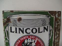 Vintage Lincoln Paints Double Sided Porcelain Flange Sign 20 x 15