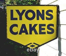 Vintage Lyons Cakes Enamel Double Sided Advertising Sign