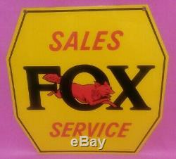Vintage Metal Double Sided Sign Fox River Harvester Tractor Co Sales Service
