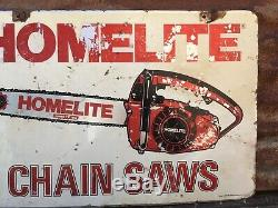 Vintage Metal Sign Homelite Chain Saw Sales & Service Double Sided Chainsaw