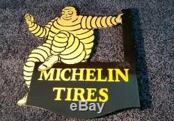 Vintage Michelin Tires Porcelain Gas Double Sided Service Station Flange Sign