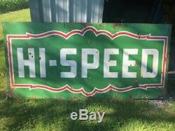 Vintage ORIGINAL Large HI-SPEED Gas Station Double Sided PORCELAIN Sign42''x90'