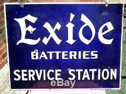 Vintage Orig. Exide Batteries Sevice Station Double Sided Porcelain Sign 26x20