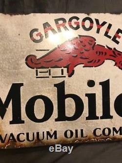 Vintage Orig. Mobiloil Gargoyle Double Sided Porcelain Flange Sign 25.75 x 15.5