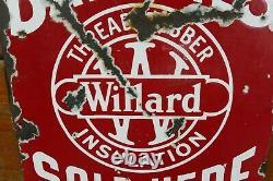 Vintage Original 1920s/1930s Willard Batteries Double Sided Porcelain Sign