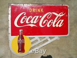 Vintage/Original 1948 Drink COCA-COLA Double-Sided Flange Sign with Bottle Logos