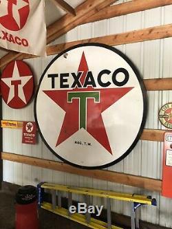 Vintage Original 72 Texaco Gas Double Sided Station Porcelain Sign 6ft 1956