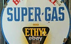 Vintage Original Barnsdall Super-Gas Ethyl Burst Double-Sided Porcelain Sign