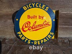 Vintage Original Columbia Bicycle Double Sided Flange Metal Enamel Sign