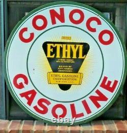 Vintage Original Conoco Gasoline with Ethyl Burst Double-Sided 30 Porcelain Sign