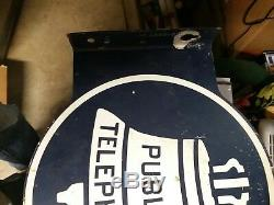Vintage Original Double Sided Bell System Public Telephone Metal Sign withFlange