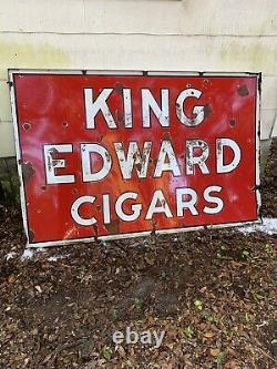Vintage Original Double Sided Porcelain King Edward Cigars Sign 70 x 46