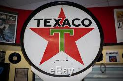 Vintage Original Double-Sided Texaco Porcelain Sign with Banjo Pole Pickup in NJ