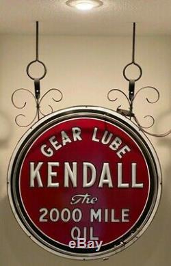Vintage Original Kendall Oil Double Sided Porcelain Enamel Neon Milk Glass Sign