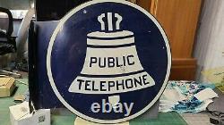Vintage Original Public Telephone Metal Sign Double Sided Flange Round 18