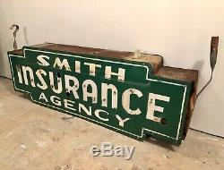 Vintage Original SMITH Insurance Double Sided 6ft Porcelain Neon Can Sign