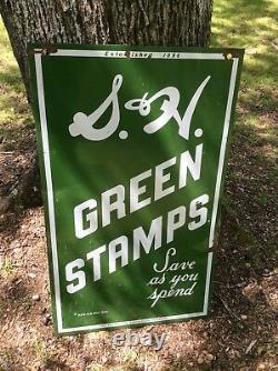 Vintage Original S&H Green Stamps Porcelain Double Sided Sign. Save as you Spend