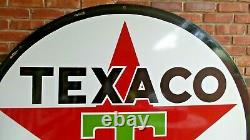 Vintage Original Texaco Double-Sided 6 ft. Porcelain Gas Station Sign Very Good
