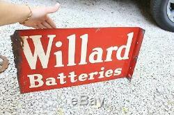 Vintage Original Willard Batteries Metal Double Sided Flange Sign Gas Oil