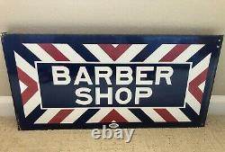 Vintage PORCELAIN MARVY BARBER SHOP SIGN Double Sided Flange Original