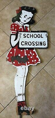 Vintage Painted Wood Metal School Girl Crossing Sign, Double Sided, lifesize