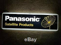 Vintage Panasonic Satellite Light Up Clock Sign Double Sided Radio Vinyl Music