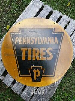 Vintage Pennsylvania Tires Sign, 30 Double Sided Tire Sign, Gas and Oil Sign