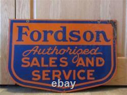 Vintage Porcelain Double Sided Fordson Dealer Sign Antique Tractor Farm 8382