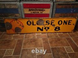 Vintage Porcelain Double Sided Shell Oil Well Lease Sign 48X 12