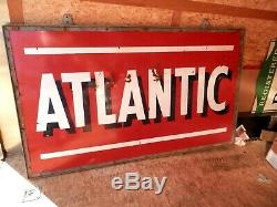 Vintage Porcelain Large Double Sided Atlantic Gas Station Sign WithFrame43 X 72