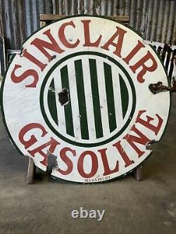 Vintage Porcelain Sinclair Gas Oil Double Side Sign Original 24