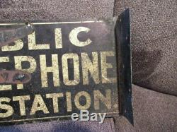 Vintage Public Telephone Pay Station Double Sided Flange Advertising Sign