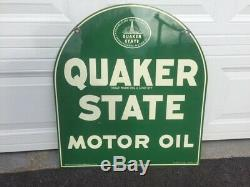 Vintage Quaker State thick Metal Tombstone Sign double sided with Original Stand