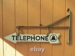 Vintage RARE Original Telephone Double Sided Porcelain Arrow Sign 36 & Bracket