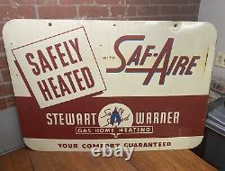 Vintage Rare Stewart Warner Gas Home Heating Double-Sided Garage Sign