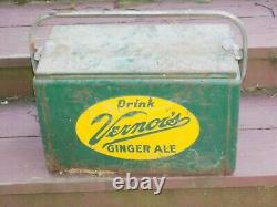Vintage Rare Vernors Ginger Ale Cooler Double Sided Sign