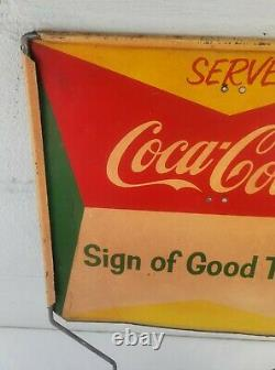 Vintage Serve Coca Cola Metal Double-sided Rack Topper Sign 16 1/2 X 15 Inch