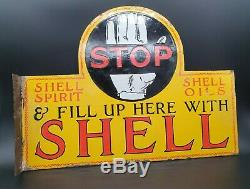 Vintage Shell Stop Here Double Sided Enamel Sign Automobilia Motor Oil Petrol